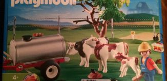 Playmobil - 4494-usa - Farmer / cow / tank