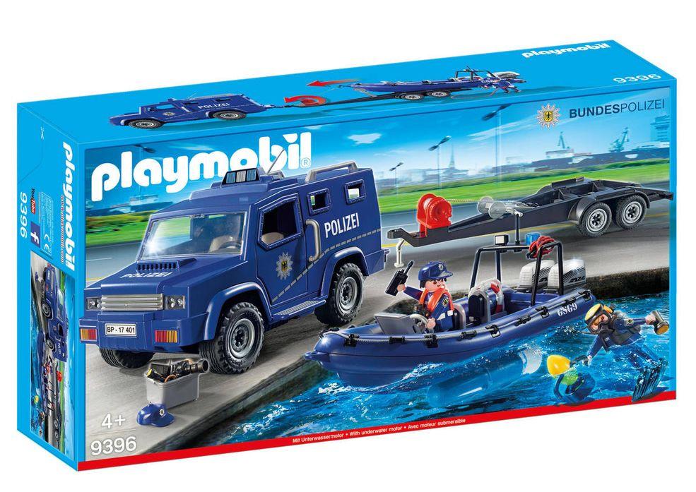 Playmobil 9396-ger - Bundespolizei - Truck mit Schnellboot - Box