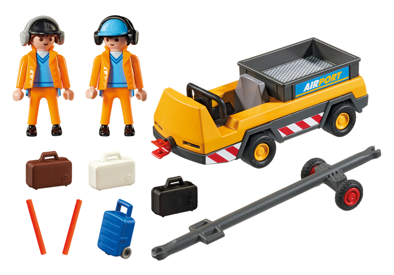 Playmobil 5396 - Aircraft tractors with air traffic controllers - Back