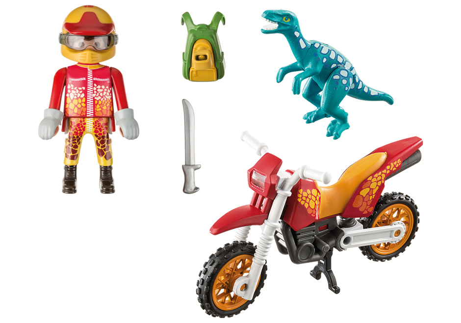 Playmobil 9431 - Motocross Bike with Raptor - Back