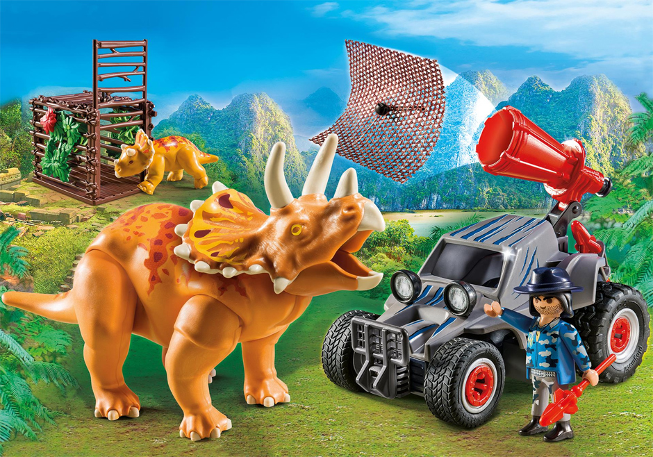 Playmobil set 9434 enemy quad with triceratops - Dinosaur playmobile ...