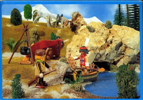 Playmobil 3397-esp-fra - Indian and Tracker with Canoe - Back