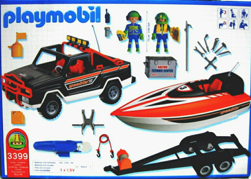Playmobil 3399 - Jeep with Offshore Raceboat - Back