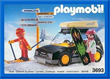 Playmobil 3693v1 - Black Car With Skiers - Box