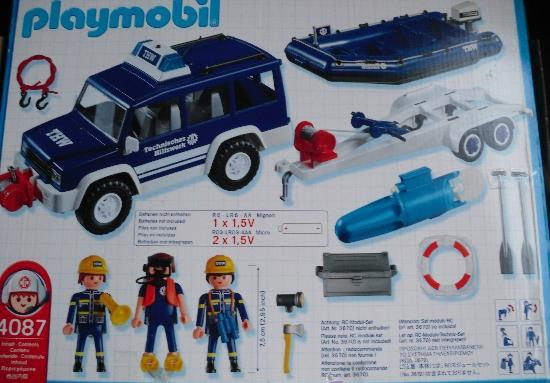 Playmobil 4087-ger - THW Offroader and Boat - Back