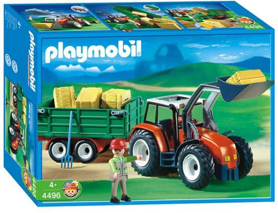 Playmobil 4496-ger - Tractor with Hay Trailer - Box