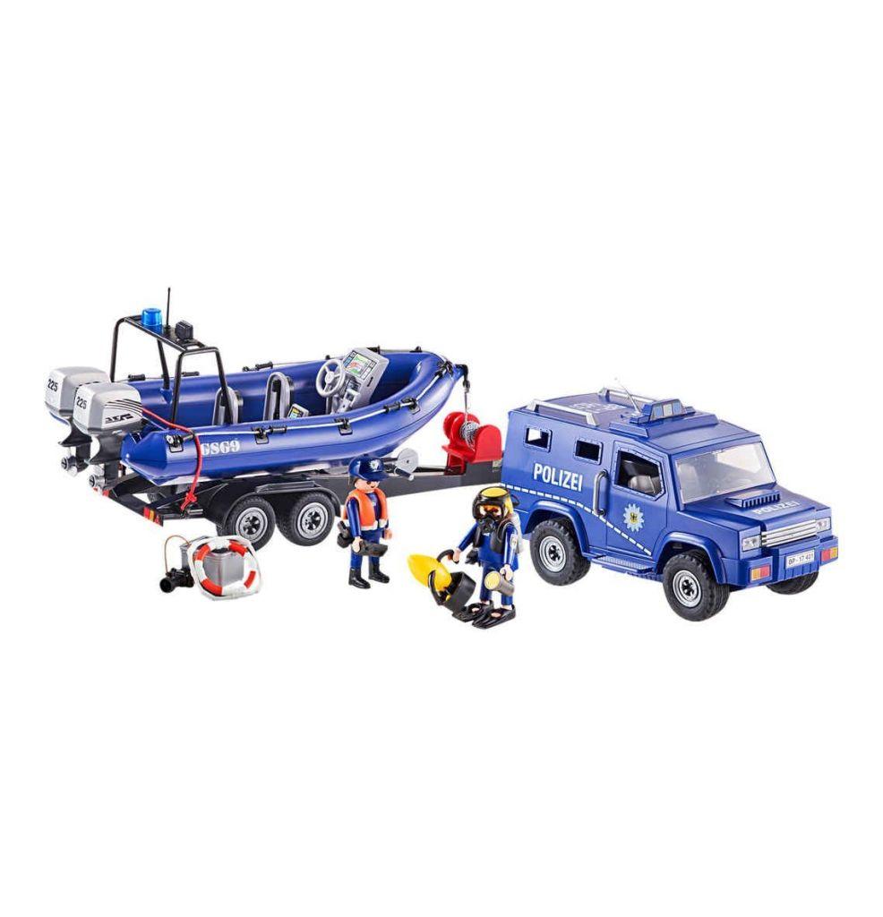 Playmobil 9396-ger - Bundespolizei - Truck mit Schnellboot - Back