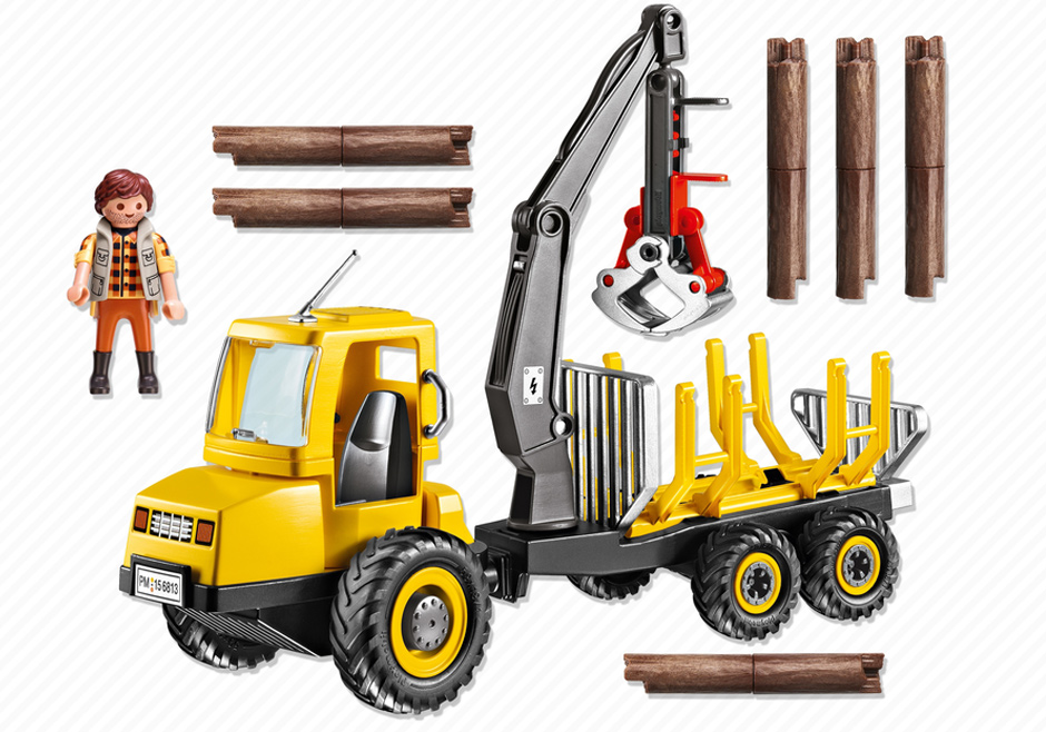 Playmobil 6813 - Forwarder with crane - Back
