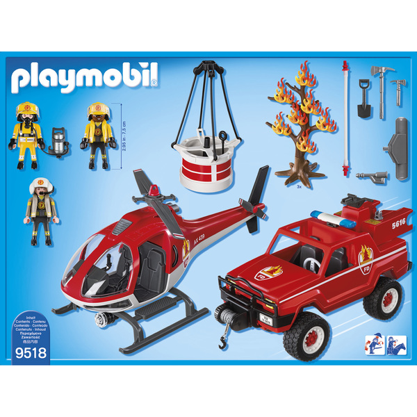 Playmobil 9518-fra - 4x4 & Helicopter Fire Rescue - Zurück