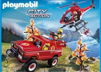 Playmobil - 9518-fra - 4x4 & Helicopter Fire Rescue