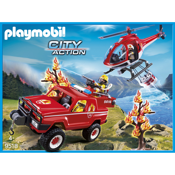 Playmobil set 9518 fra 4x4 helicopter fire rescue - 4x4 pompier playmobil ...