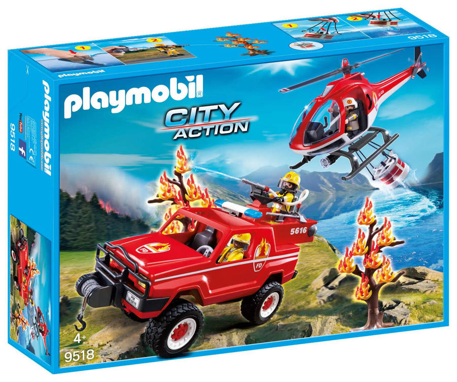 Playmobil 9518-fra - 4x4 & Helicopter Fire Rescue - Box