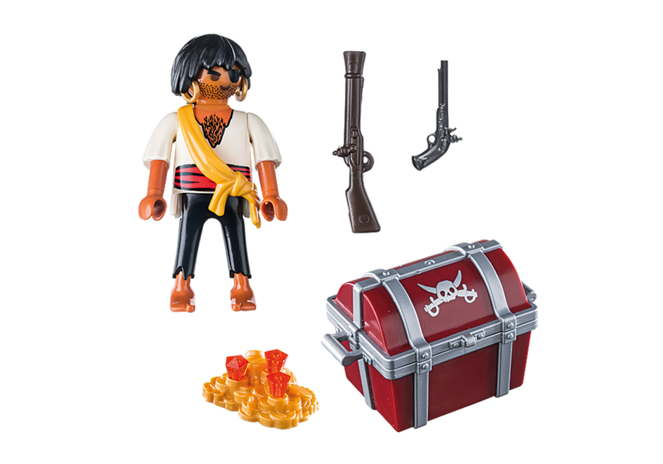 Playmobil 9358 - Pirate with treasure chest - Back