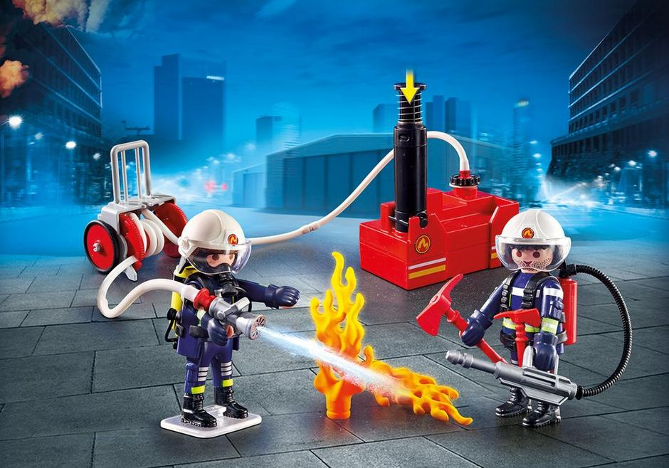 Playmobil Set: 9468 - Fire Fighters with Pump - Klickypedia