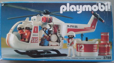 Playmobil 3789v2 - White Rescue Helicopter - Box