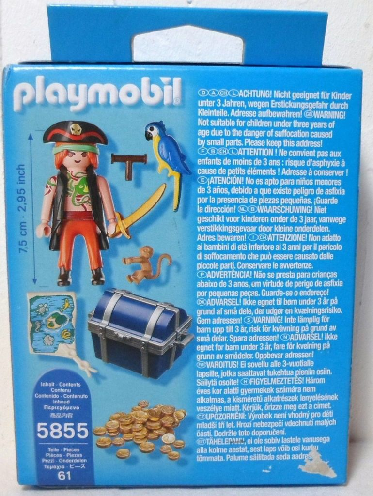 Playmobil 5855-gre - Pirate with parrot - Back
