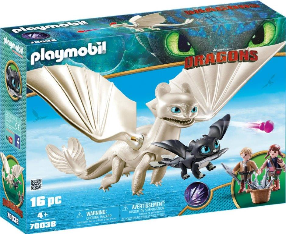Playmobil 70038 - Light Fury and Baby Dragon With Kids - Box
