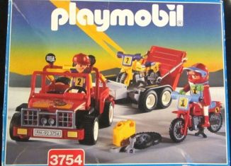 Playmobil - 3754v2 -  Red jeep with trailer & dirt bikes