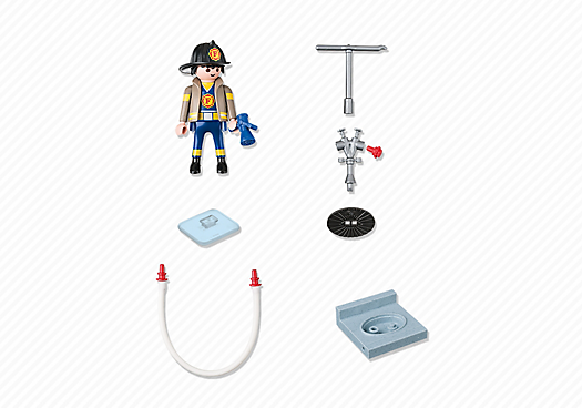 Playmobil 4795 - Firefighter with fire hydrant - Back