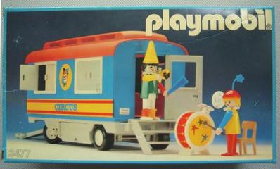 Playmobil 3477v1 - Remolque payasos del circo - Caja
