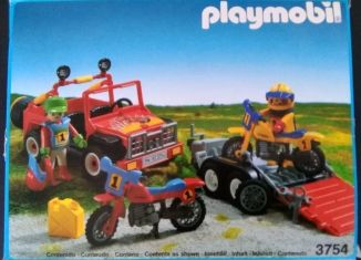 Playmobil - 3754-esp - Red jeep with trailer & dirt bikes