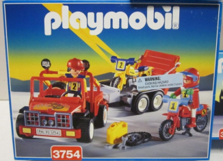 Playmobil - 3754v2-usa - Red jeep with trailer & dirt bikes