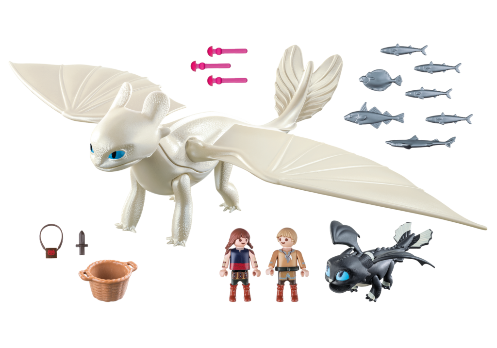 Playmobil 70038 - Light Fury with Baby Dragon and Children - Back