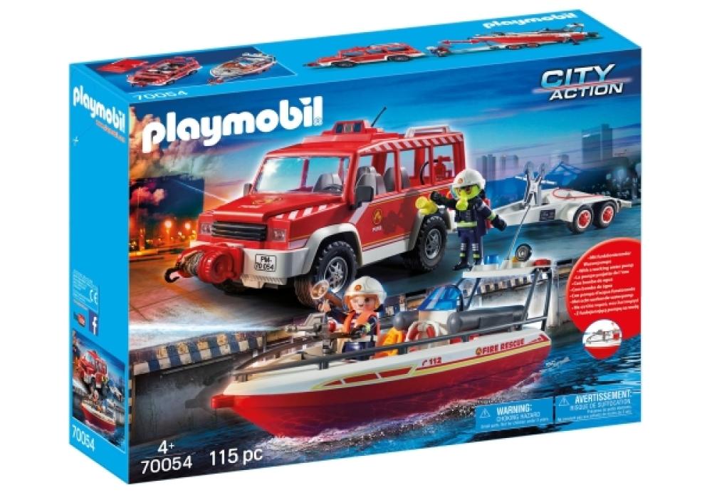 Playmobil 70054 - Feuerwehrfahrzeug mit Löschboot - Box