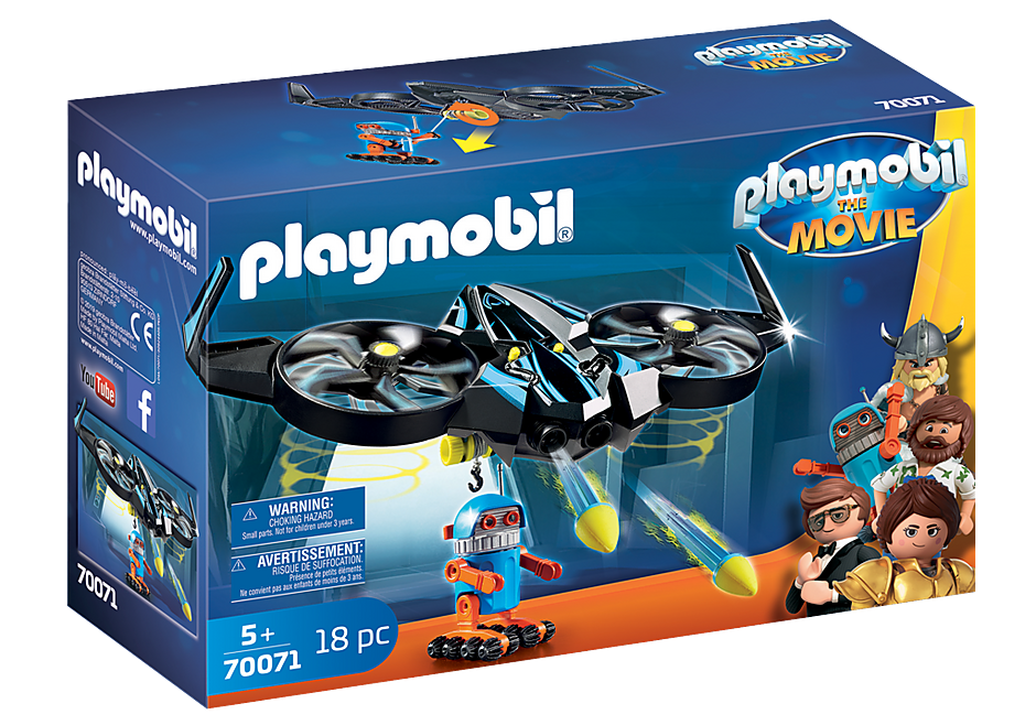 Playmobil 70071 - PLAYMOBIL:THE MOVIE Robotitron with Drone - Box