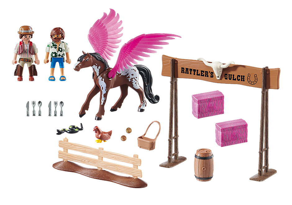 Playmobil 70074 - PLAYMOBIL:THE MOVIE Marla and Del with Flying Horse - Back