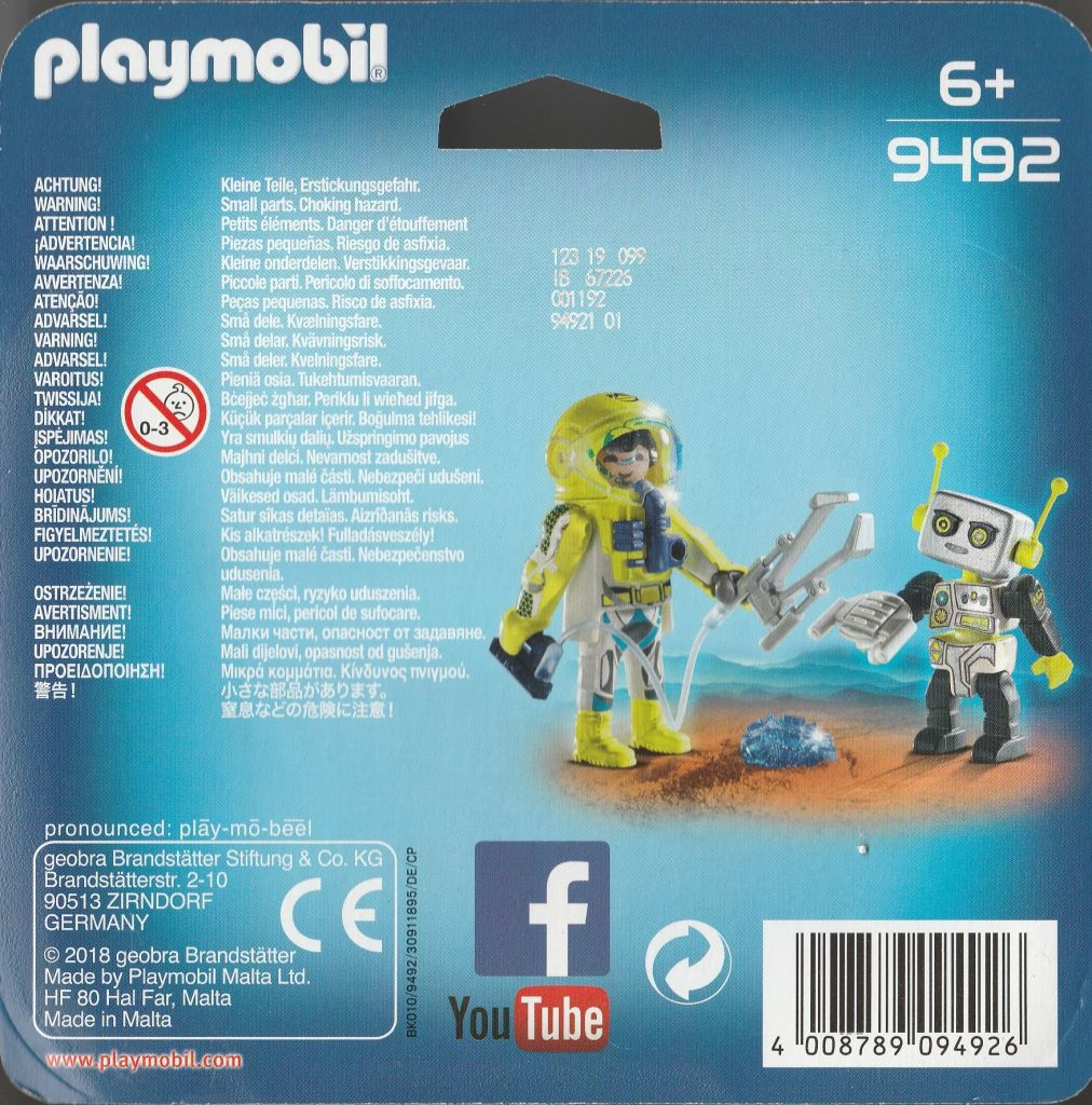 Playmobil 9492 - Duo Pack Astronaut and Robot - Back