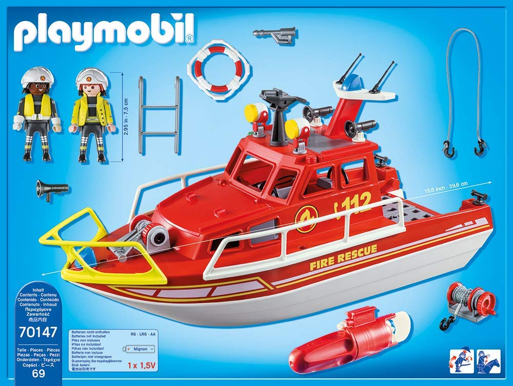 Playmobil 70147 - Fire Rescue Boat - Back