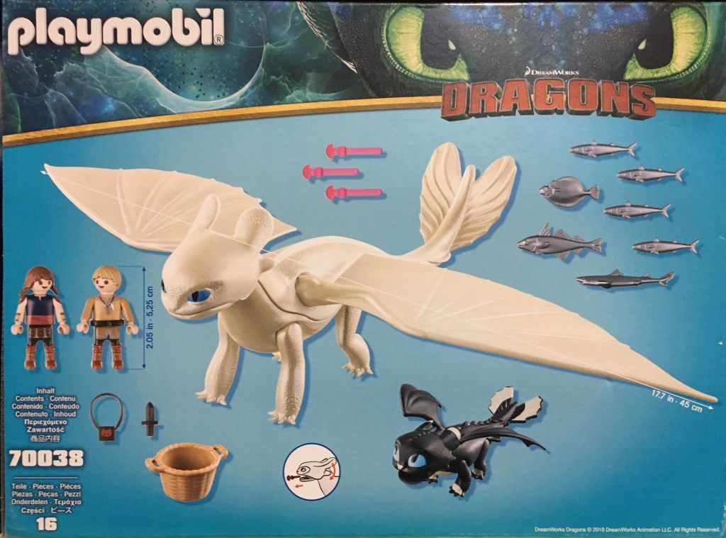 Playmobil 70038 - Light Fury and Baby Dragon With Kids - Back