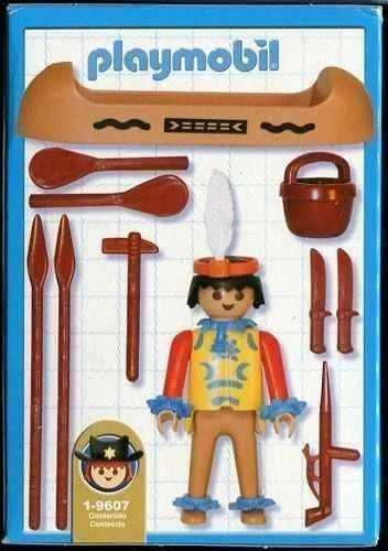 Playmobil 1-9607v1-ant - Indian with canoe - Back