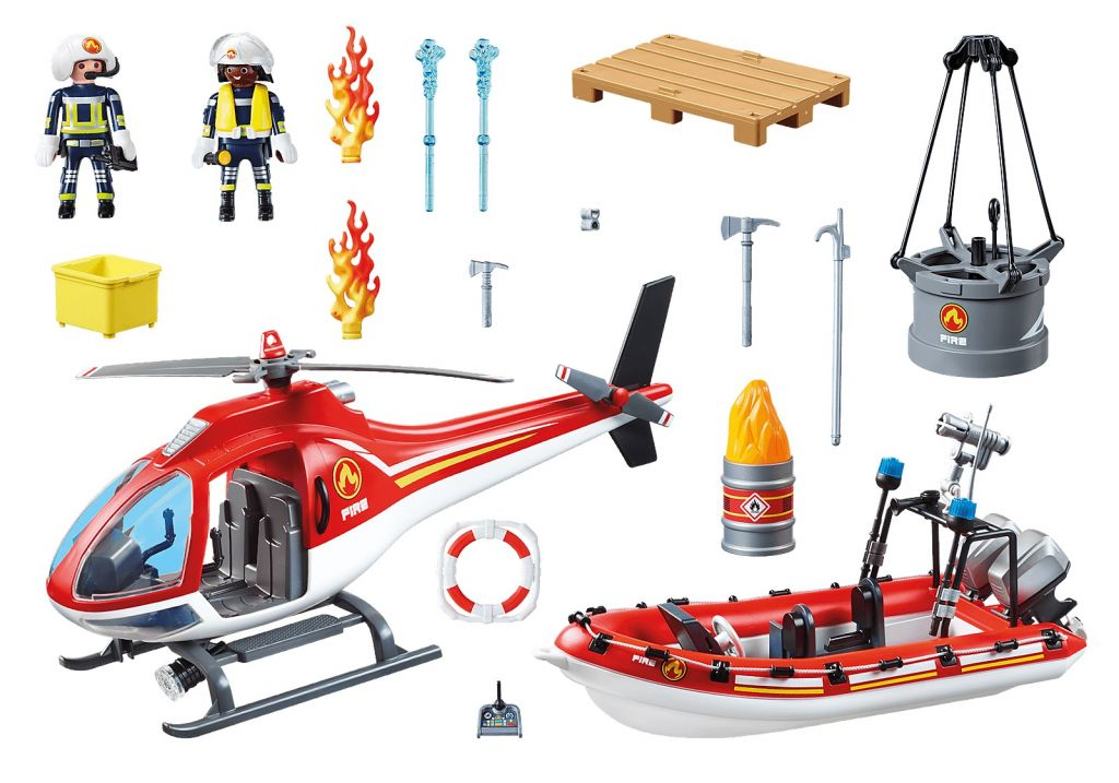 Playmobil 70335 - Fire rescue helicopter and boat - Back