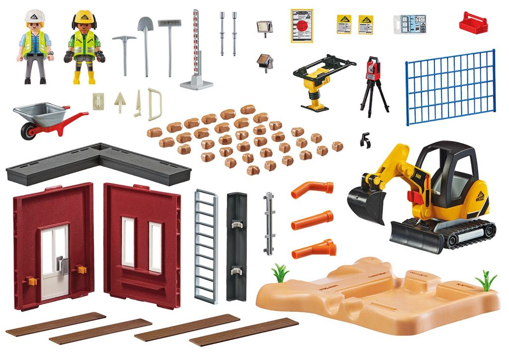 Playmobil 70443 - Mini Excavator with Building Section - Back