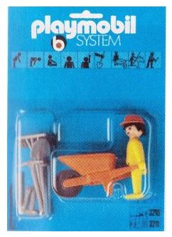 Playmobil 3210s1 - Construction Worker with Wheelbarrow - Box