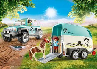 Playmobil - 70511 - Car with Pony Trailer