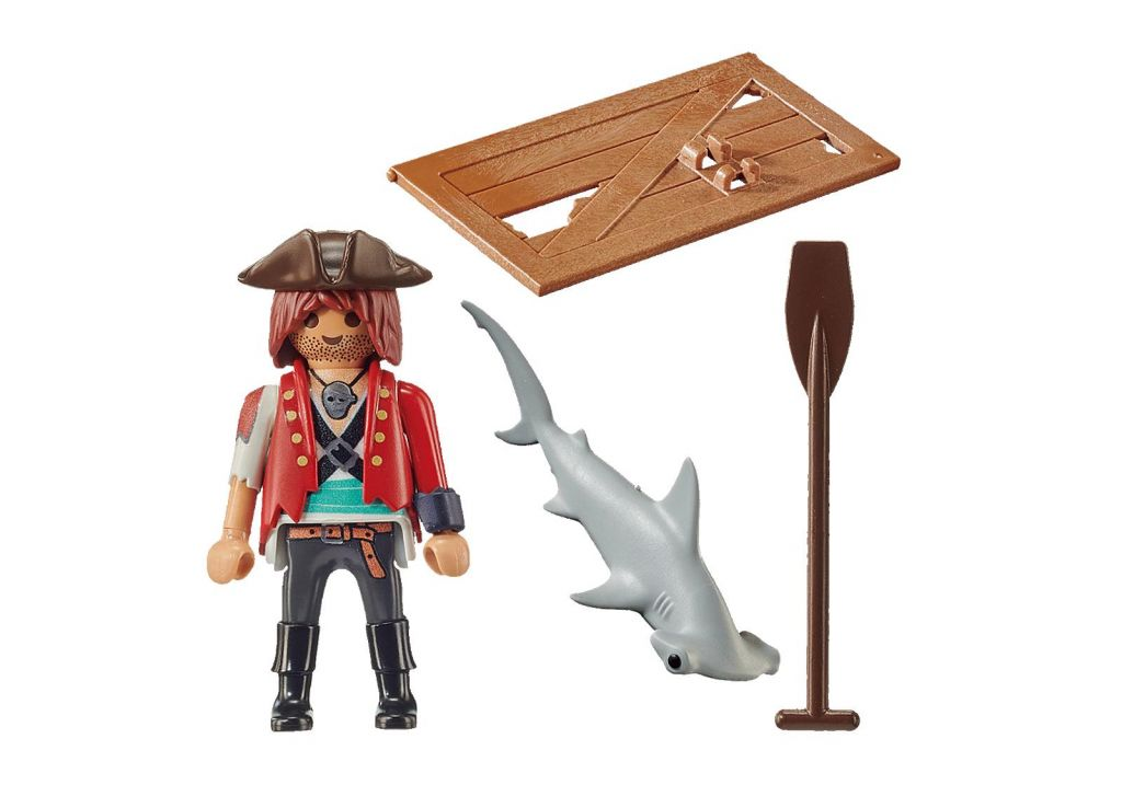 Playmobil 70598 - Pirate with Raft and Hammerhead Shark - Back