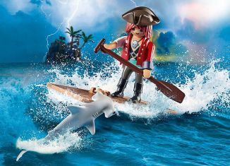 Playmobil - 70598 - Pirate with Raft and Hammerhead Shark