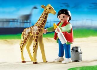 Playmobil - 3253s2 - Baby Giraffe with Zookeeper