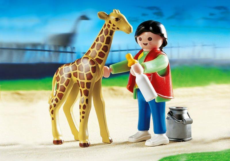 Playmobil Set 3253s2 Baby Giraffe With Zookeeper