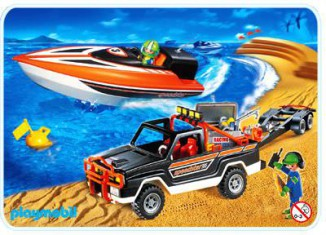 Playmobil - 3399 - Jeep with Offshore Raceboat