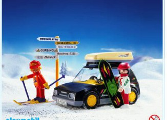 Playmobil - 3693v1 - Black Car With Skiers