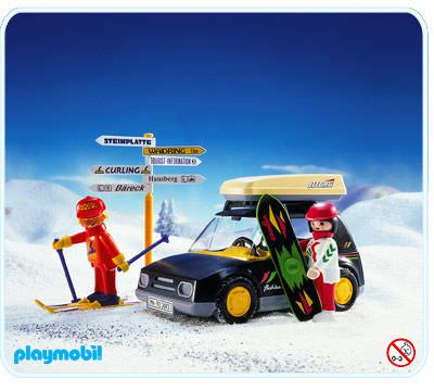 playmobil 3693 black car with skiers
