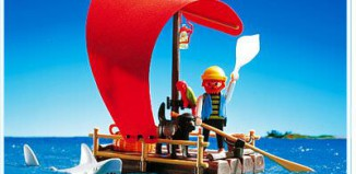 Playmobil - 3736 - Pirate raft with shark (red sail)