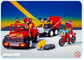 Playmobil - 3754v1 - Red jeep with trailer & dirt bikes