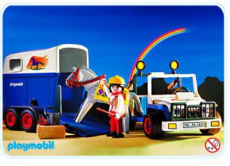 Playmobil - 3851-usa - Jeep with horse trailer