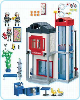 Playmobil 3885 - Fire Station with Hose Tower - Back