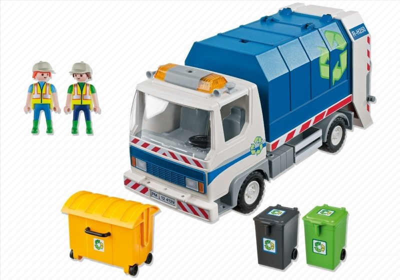 Playmobil 4129 - Recycling Truck with Flashing Light - Back